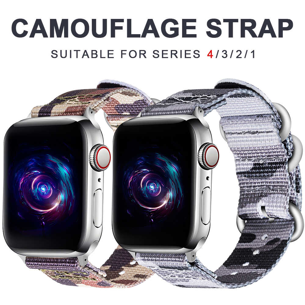 Nylon strap for apple watch band 5/4/3/2/1 sports camouflage three-ring strap 42 mm 38 mm strap for iwatch accessories