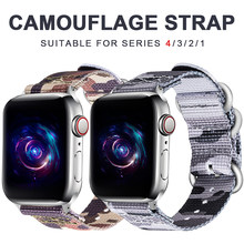 Nylon strap for apple watch band 5/4/3/2/1 sports camouflage three-ring watch strap 42mm 38mm strap for iwatch accessories(China)
