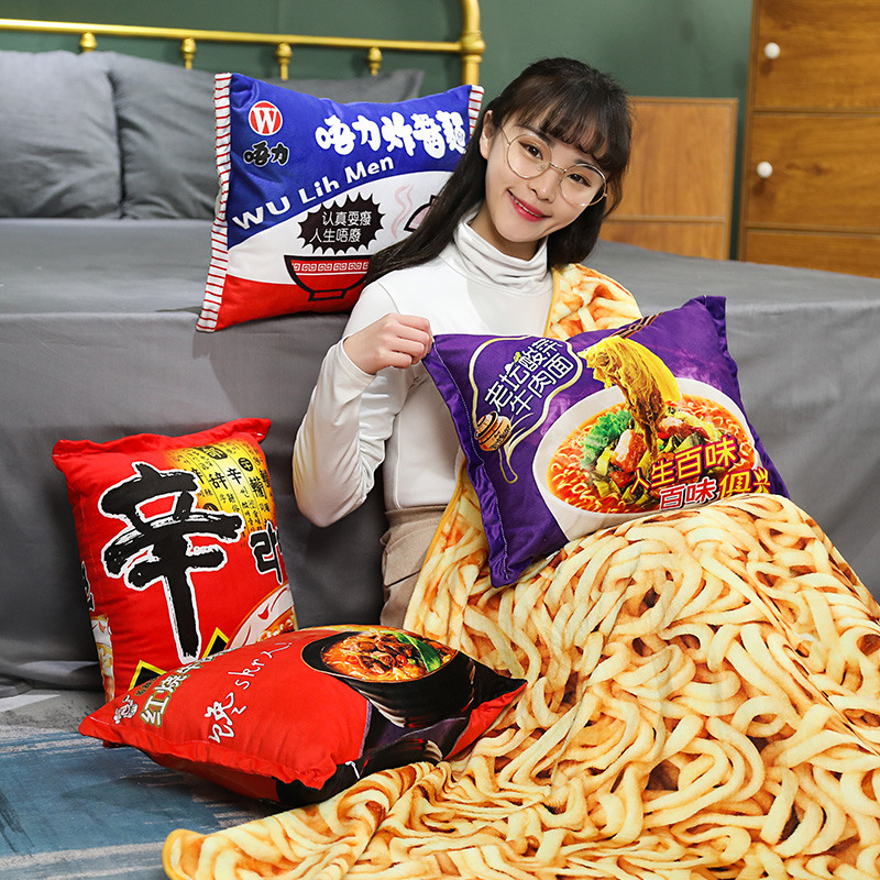 Kawaii Blanket Simulation Instant Noodles Plush Pillow With Blanket Stuffed Beef Fried Noodles Gifts Plush Pillow Food Plush Toy