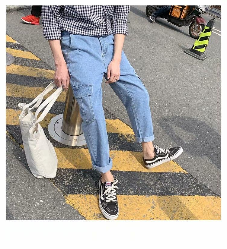 Men's Straight Denim Hip Hop Casual Street Jeans Pants Brand Spring Autumn 2020 Light Loose Fall Simple Ankle Length Pants
