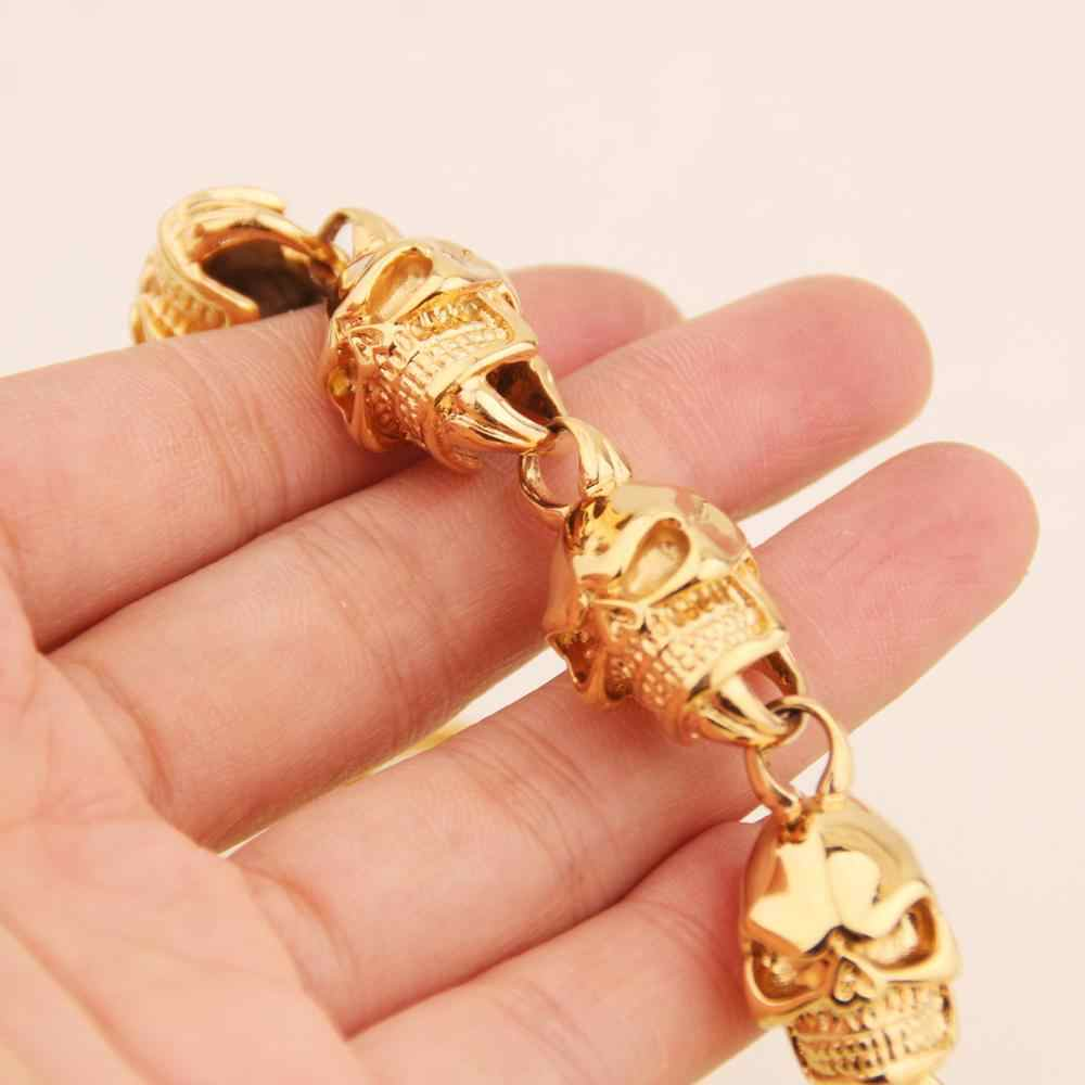 למעלה מכירת זהב 316L נירוסטה צמיד פאנק גולגולת צמיד בציר מגניב שלד סגנון גברים של תכשיטי צמיד