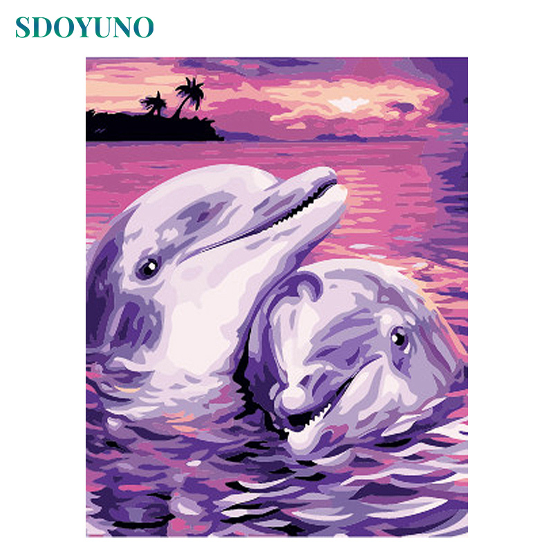 SDOYUNO 60X75cm Oil Painting By Numbers Two Dolphins Home Decor Animals Frameless Digital Canvas Painting DIY Paint By Numbers
