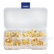 Unids/caja de terminales de engarce dorado de 150mm-3,2mm, Kit surtido sin aislamiento, conectores de Cable de terminal, anillo trasero, 10,2