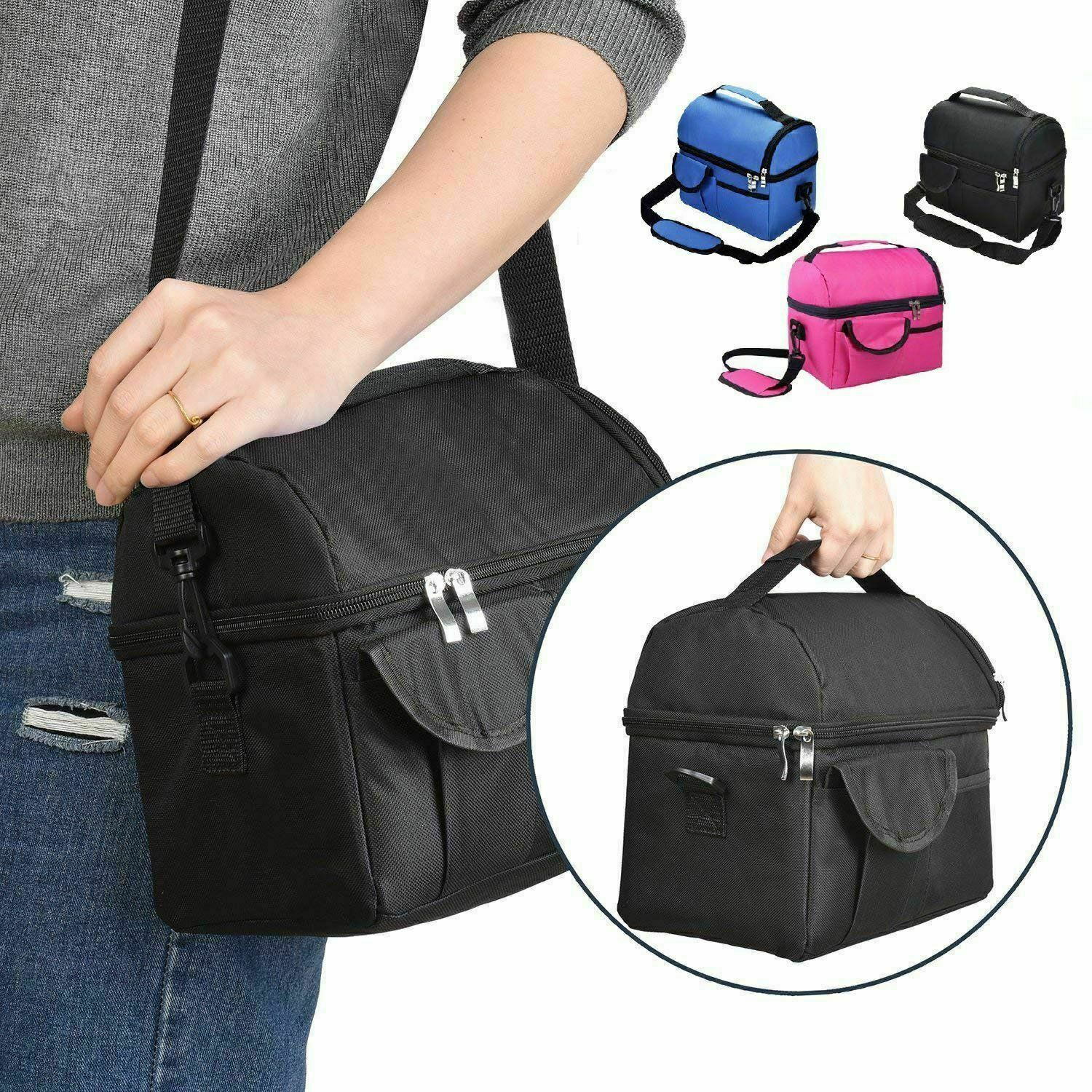 Insulated Lunch Box Tote Men Women Travel Hot Cold Food Cooler Thermal Bag Portable Insulated Lunch Bag 8L