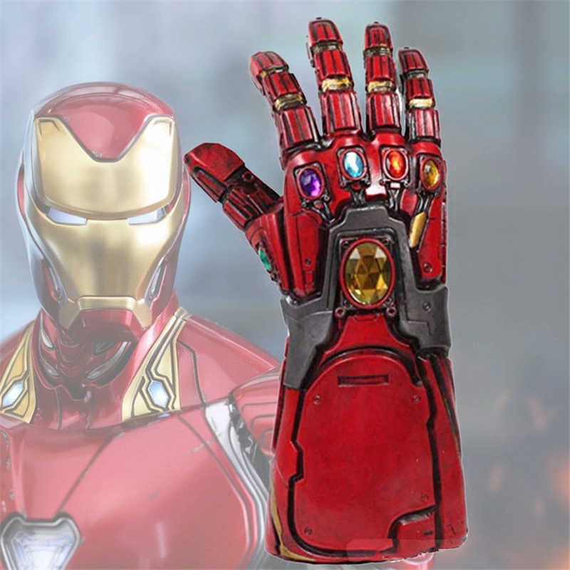 Di alta Qualità Avengers Endgame Supereroe Iron Man Tony Stark Gemma Infinity Gauntlet Cosplay Guanti Thanos LED In Lattice Guanto IN PVC Nuovo