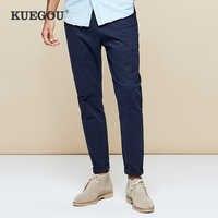 KUEGOU 2019 осенние хлопковые черные повседневные брюки с вышивкой, мужские длинные брюки, модная винтажная Корейская стильная брендовая одежда...