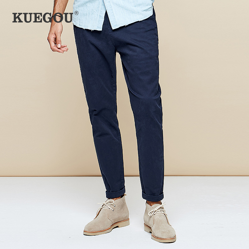 KUEGOU 2019 Autumn Cotton Embroidery Black Casual Pants Men Trousers Long Male Fashions Vintage Korean Style Brand Clothing 9790