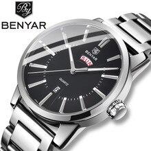 купить BENYAR 2019 new business men watches Top luxury brand Dual calendar watch Quartz sports male wristwatches relogio masculino+box дешево