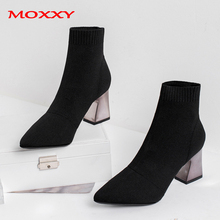 цена 2019 New Ladies Sexy Boots Women Pointed Toe High Heel Boots Black Stretch Fabric Sock Ankle Boots Fashion Shoes Woman zapatos онлайн в 2017 году