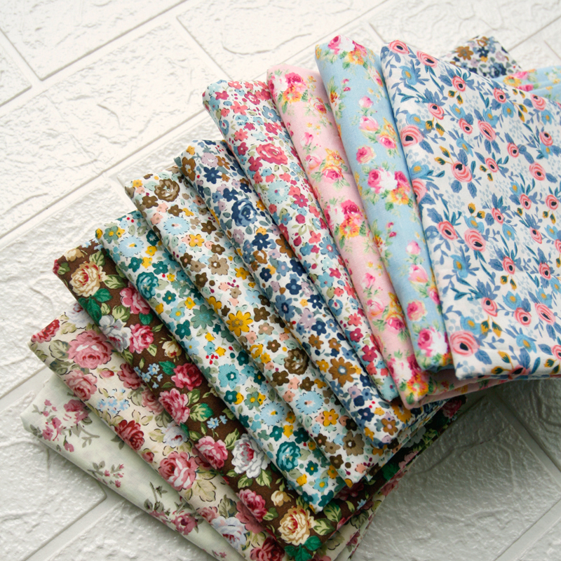 140x50cm Vintage Rose Cotton Poplin Fabric for Sewing Making Spring and Summer Children's Clothing Dress Clothing Cloth