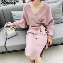 цены Moxeay Batwing Sleeve Sweater Dress Spring Autumn Women V Neck Knitted Full Sleeve Bodycon Bandage Sexy Split Knit Sweater Dress