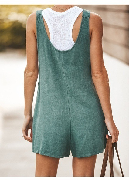 Casual Women Rompers Summer Sleeveless Backless Lace Up Playsuits Ladies Tank Jumpsuits Buttons Pocket Loose Overalls Plus Size