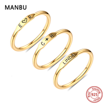 MANBU 925 sterling silver letter rings for women custom personalized name ring for couple engraved rings for men jewelry HOT отсутствует агада сказания притчи изречения талмуда и мидрашей