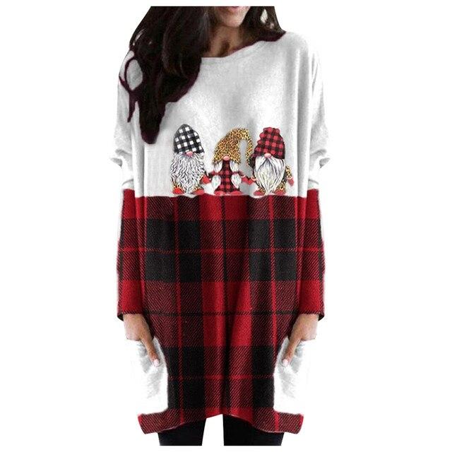 Hot Sale Women's Christmas Color Matching Print Long-sleeved Sweatshirt Casual Blouse Winter Korean Style Hoodies Women F 3