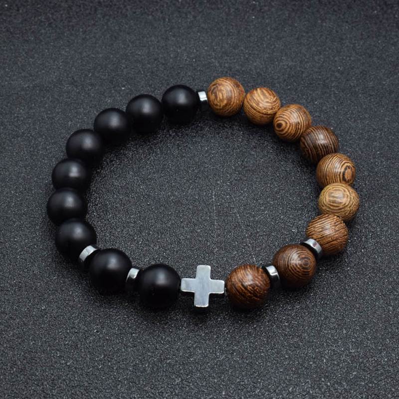 stainless steel retro beads men's bracelet natural stone chains on hand male accessories hip hop retro black lot bracelets chain