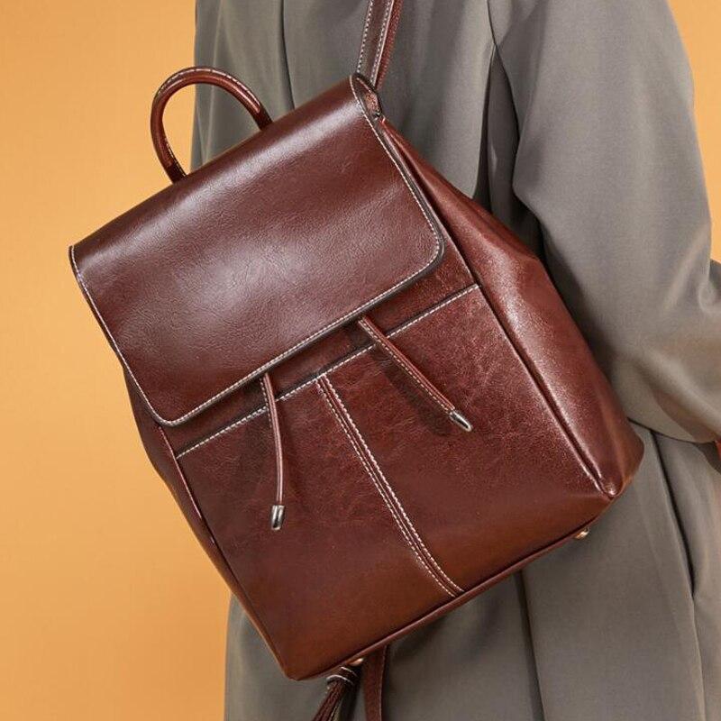 Women Genuine Leather Backpack Female Preppy Style Zipper School Bags Teenage Girl Large Capacity Backpack Casual Shoulder Bag