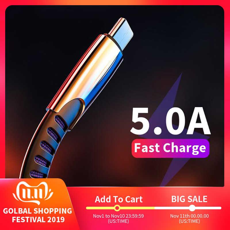 جديد مضفر النايلون سريعة تهمة USB C نوع C كابل علامة هواوي P10 P20 لايت برو 5A كبل شحن سريع لسامسونج غالاكسي s9 s8 زائد