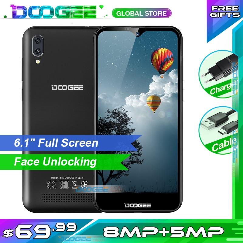 DOOGEE X90 6,1 дюймов Android 8,1 Мобильный телефон WCDMA 4 ядра MT6580A смартфон 5MP + 8MP уход за кожей лица разблокирован мобильный телефон 3400 мА/ч, 16 ГБ Встроен...