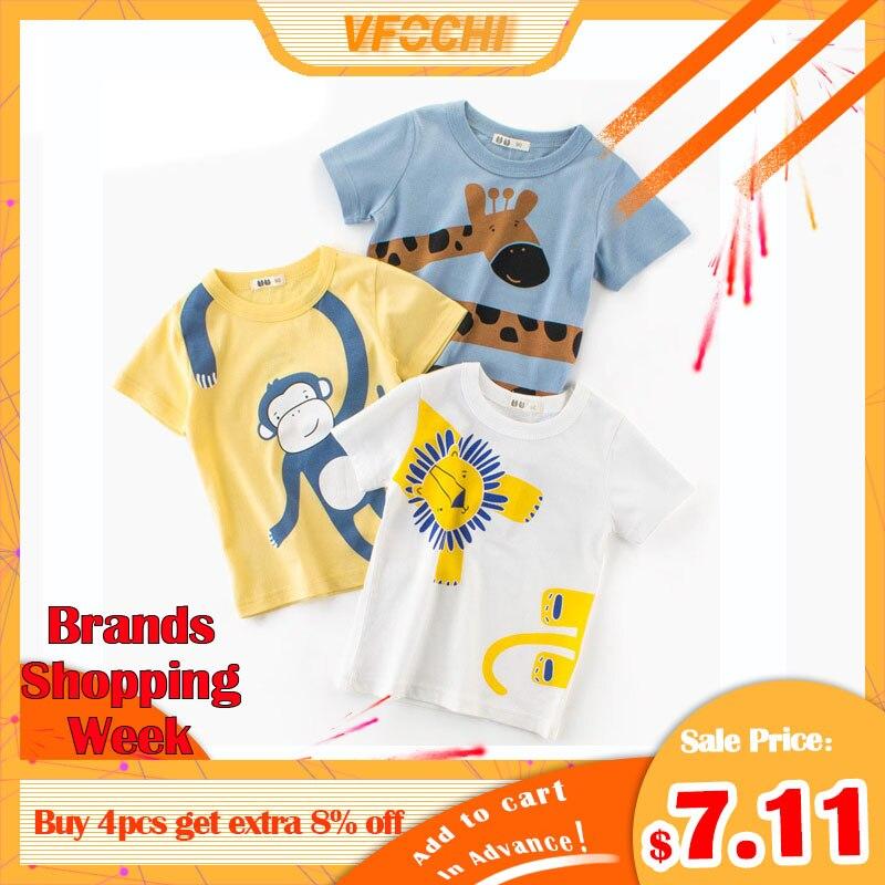 VFOCHI New Arrival Boys T Shirt Cartoon Animal Print Kids T Shirt 2-10Y Teenager Tee Tops Cute Boy Clothes Baby Boy T Shirts
