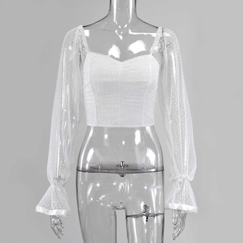 Şifreleme kare yaka dantelli seksi bluz gömlek kadın See Through örgü Polka Dot moda uzun kollu kırpma üstleri gömlek