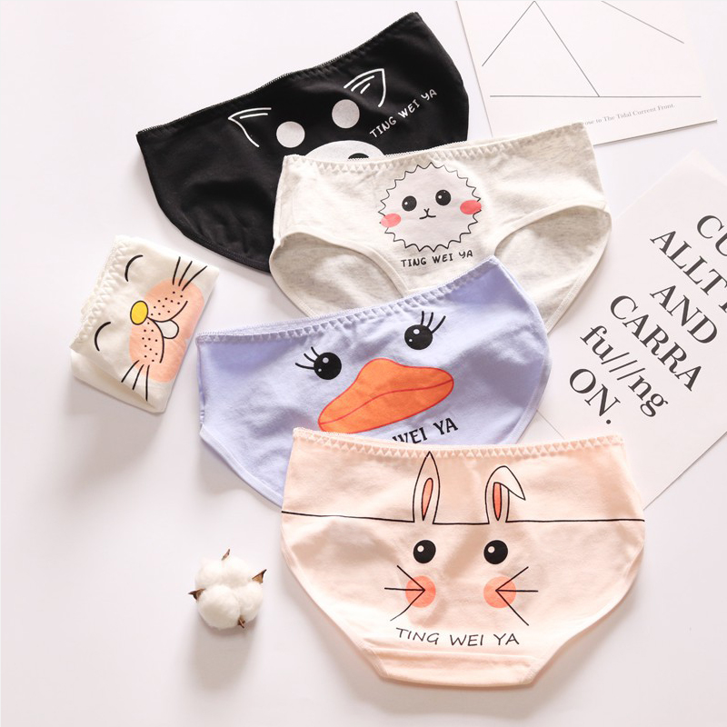 Playful Cute Cartoon Print Panties Women Mid Waist Bag Hip Breathable Briefs Lovely Girls Student Underwear