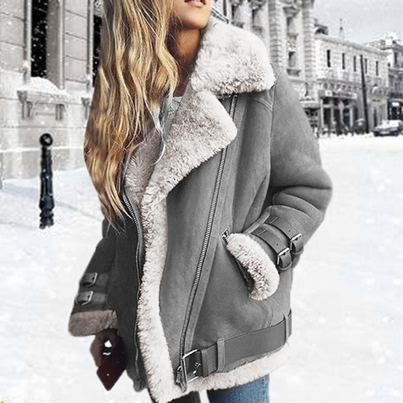 Winter Women Faux Fur Fleece Coat Outwear Warm Lapel Biker Motor Aviator Jacket Lady Deer Leather Velvet Lamb Coat Jacket