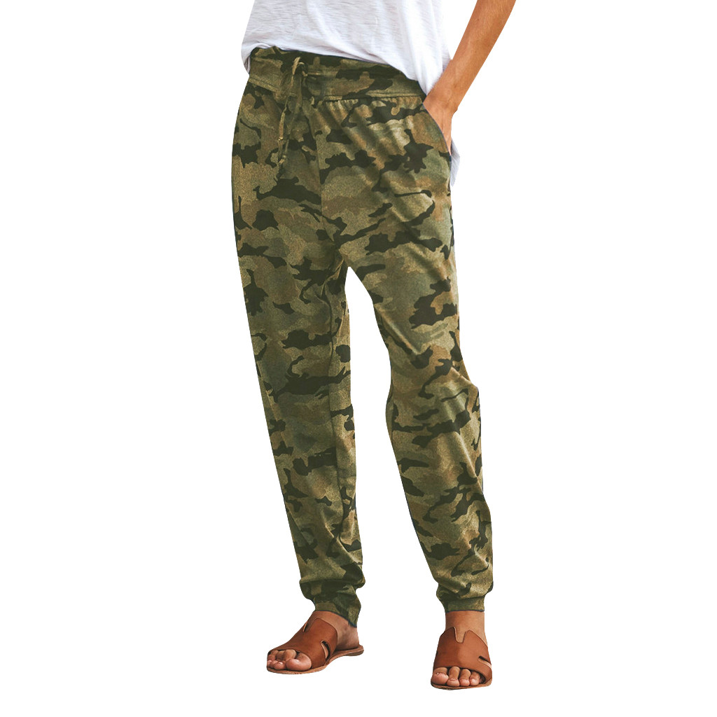 Women Camouflage Printed Pants Fashion Ladies High Waist Loose Long Pants with Pockets Casual Daily Trousers Jogger Pants Wild Cargo