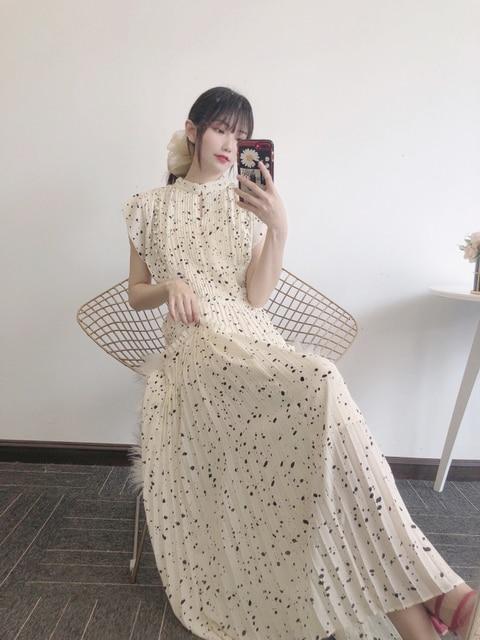 Kuzuwata Elegant Fresh High Waist Women Dress 2021 Spring New Pleated Drawstring Slim Waist Dresses Sexy Hollow Out Vestidos 3