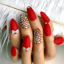 24pcs Luxury Fake Nails Designer Long Red Matte light French Jewelry  press on Nails Natural Stiletto AB Stones Decoration Tips
