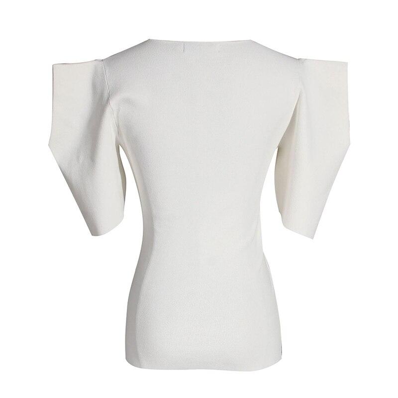 [EAM] Women Black White Knitting High Elasitc T-shirt New Round Neck Half Puff Sleeve  Fashion Tide  Spring Summer 2020 1W568 3