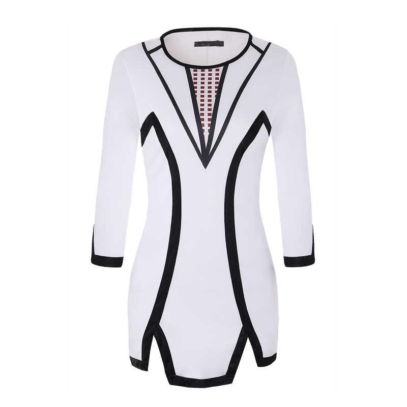MISSJOY 2019 סתיו טלאי גיאומטריה מודפס משרד נשים שמלות O-צוואר ארוך שרוולים ללבוש עבודת עיפרון גבירותיי אלגנטי Slim S-L