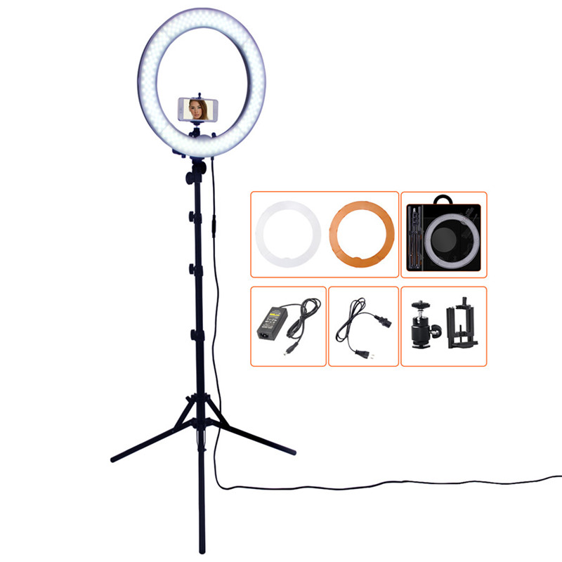 Кольцевая лампа FOSOTO для фотостудии, 18 дюймов, 5500K, с регулируемой яркостью led photographic lighting photography ring lightsring light   АлиЭкспресс - Лампы