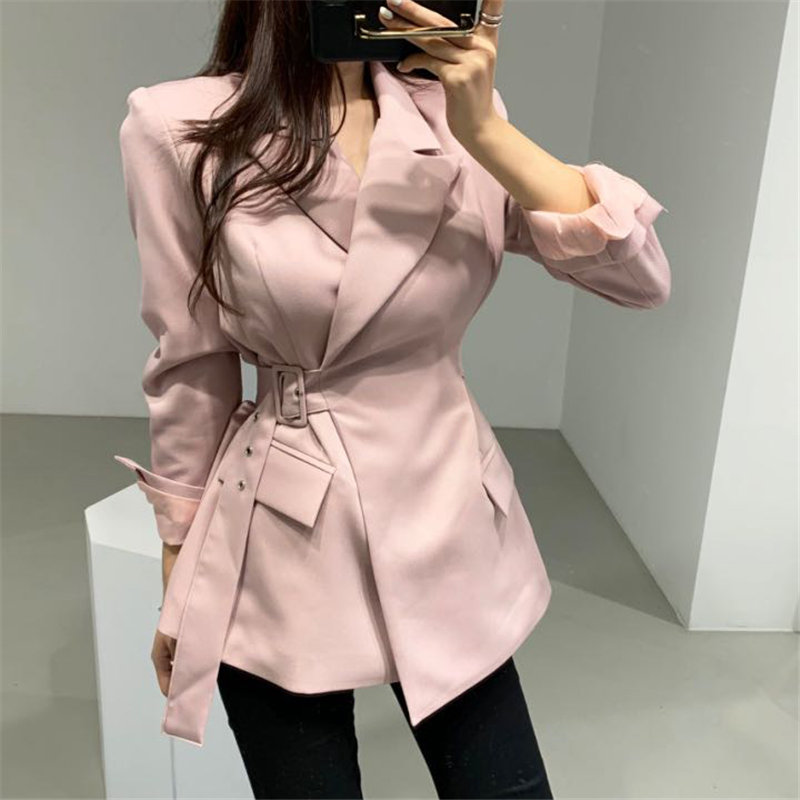 HziriP Elegant 2019 Chic Sashes Autumn Loose All Match Korea Vintage Office Ladies Retro OL Solid Casual Women Stylish Blazers