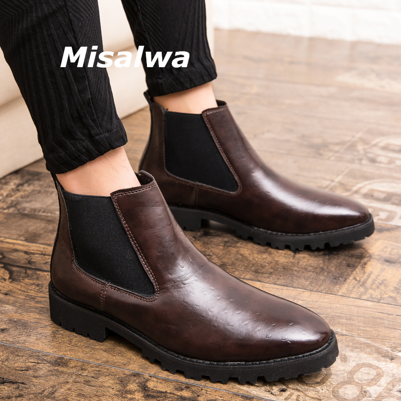 Misalwa Chelsea Men's Boots Formal Elegant Dress Embossed Leather Shoes Platform New Fashion Men Ankle Short Boots Mid Heel