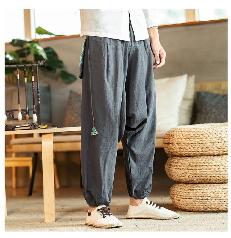 Sinicism Store Chinese Cross-Pants Men 2020 Autumn Oversize Fashion Mens Patchwork Button Pants Male Wide-legged Loose Pants 56