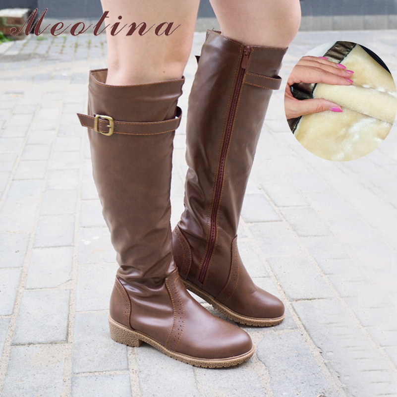 Meotina Winter Women Riding Boots Chunky Low Heel Motorcycle Boots Shoes Zip Buckle Autumn Women High Boots Yellow Big Size 9 10