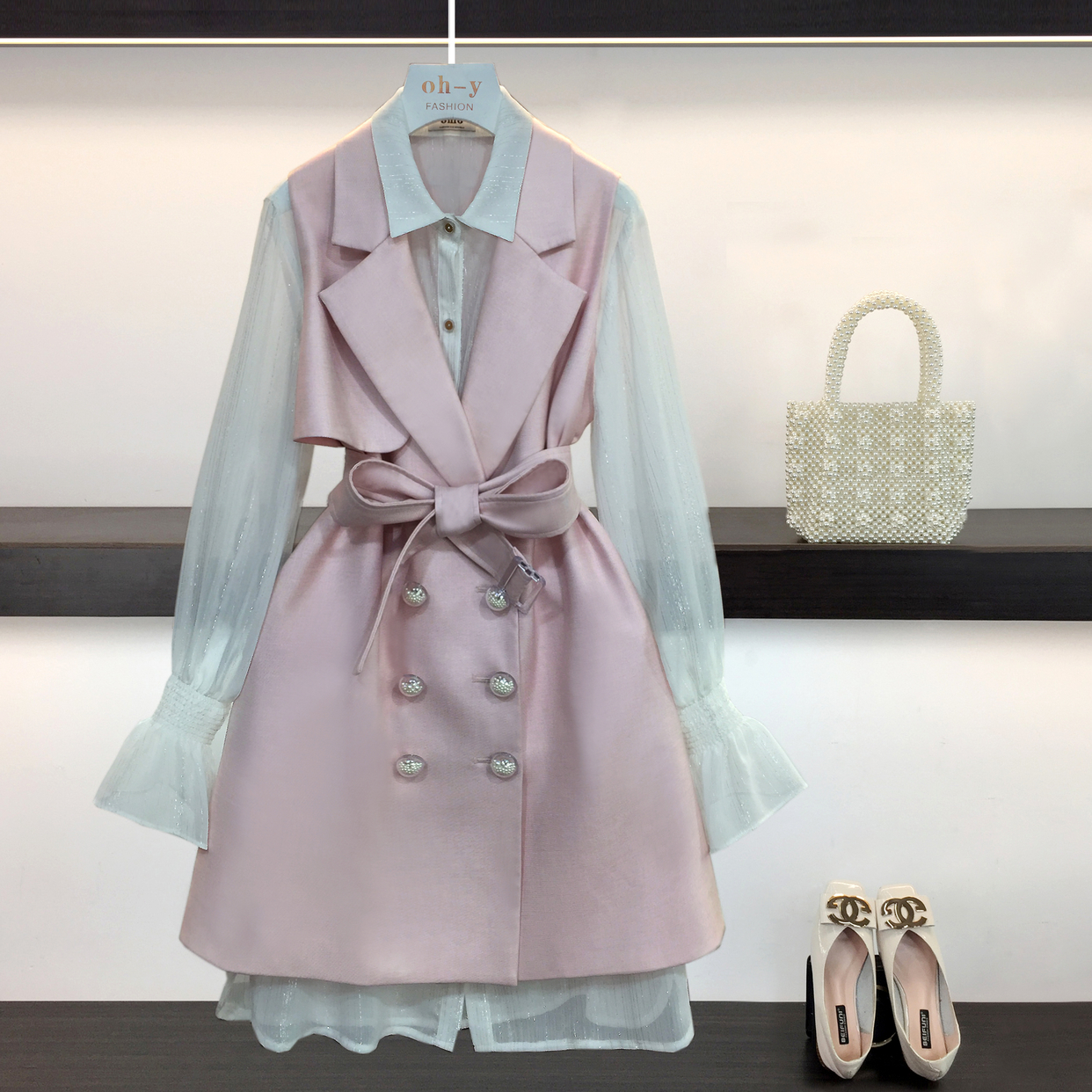 Femmes Designers Trench manteaux 2 pièces ensemble femmes 2019 automne Double poitrine réglable taille longue Trench manteau mince mode vêtements