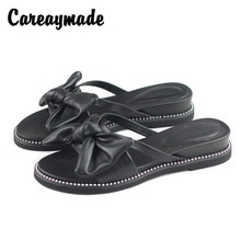 Careaymade-Summer Genuine Leather Roman fishmouth sandals with butterfly knot and thick sole,womens leisure slippers