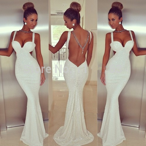 New Fashion White Long Prom Dresses 2016 Mermaid Prom Dresses Straps Sequins Sexy Backless Free Fast Shipping