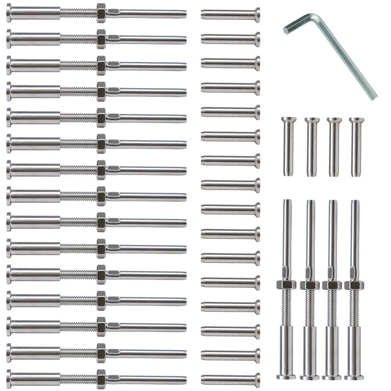 20 Pairs Stainless Steel 316 Grade Cable Railing Threaded Stud Tensioner Receiver & Flat Head Stemball Terminal For 1/8 Cable