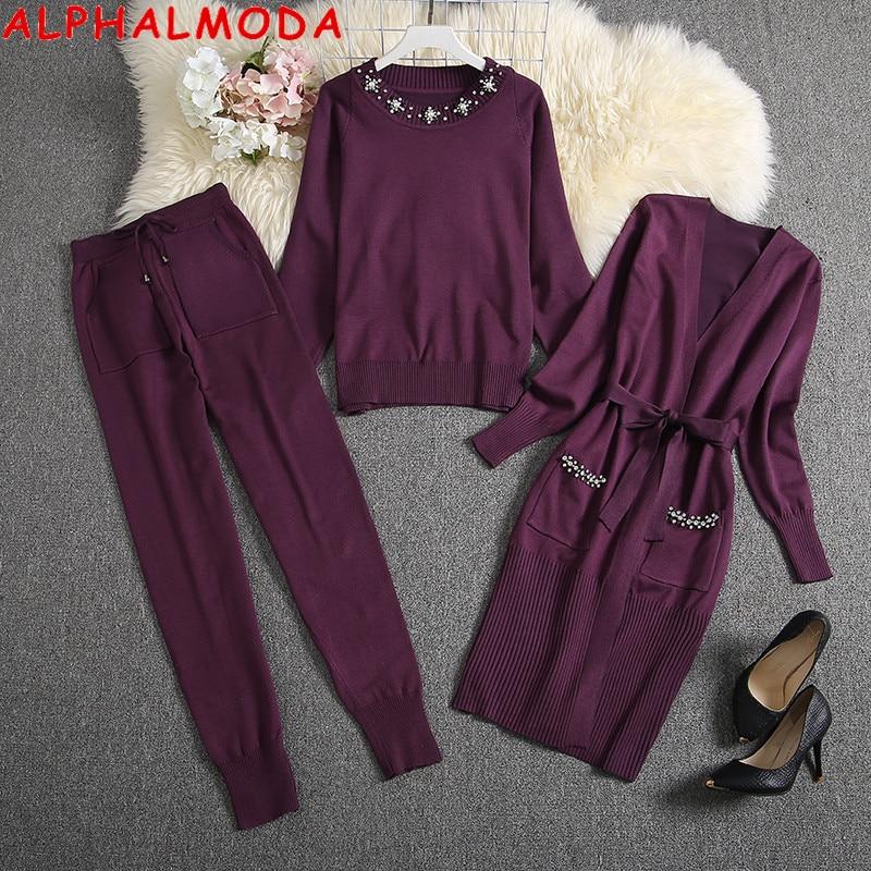 ALPHALMODA 2019 Winter Women Warm 3pcs Suit Heavy-work Diamond Long-sleeved Cardigans + Sweater + Pants Female 3pcs Fashion Suit