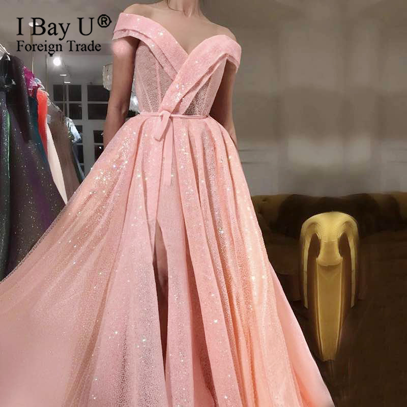 Real Glittering Pink Sequin Evening Dresses 2020 Off Shoulder Split Evening Party Gowns A Line Green Prom Dress Custom Color