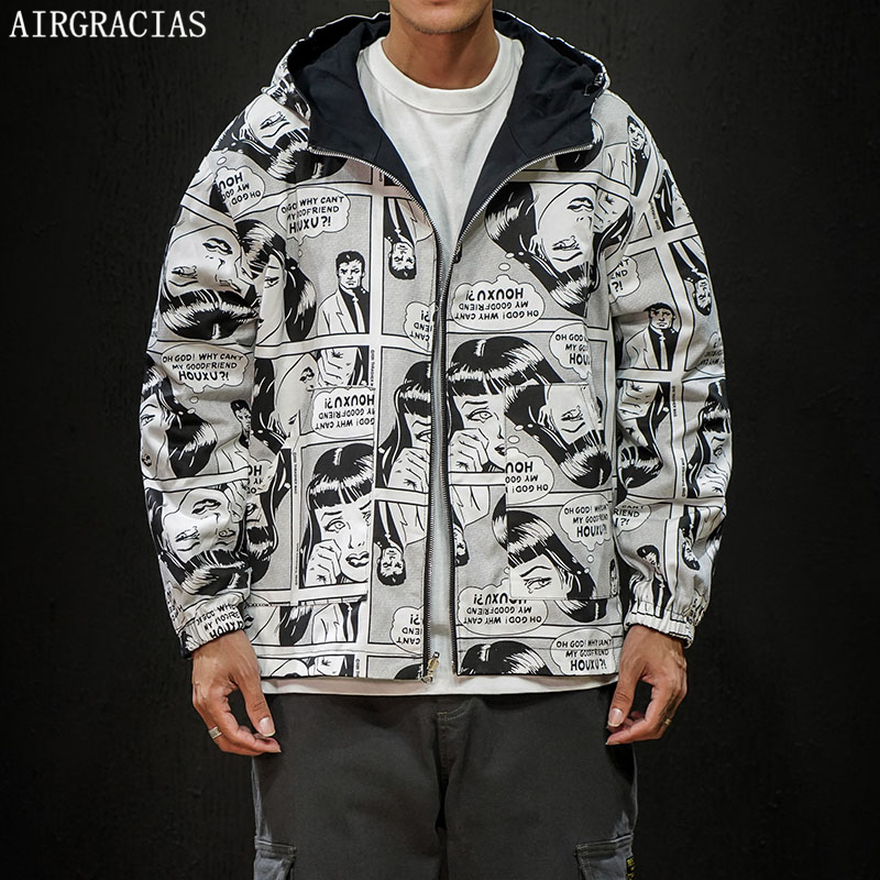 AIRGRACIAS Autumn Jacket Clothing Outwear Hooded-Coat Quality Trend Casual Loose Men