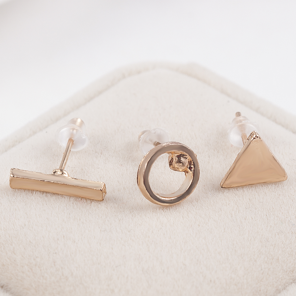 2020 fashion Trendy jewelry accessories 3pcs/Set Women Simple Alloy Cubic round Triangl Geometric Shaped Stud Earrings Gold 4