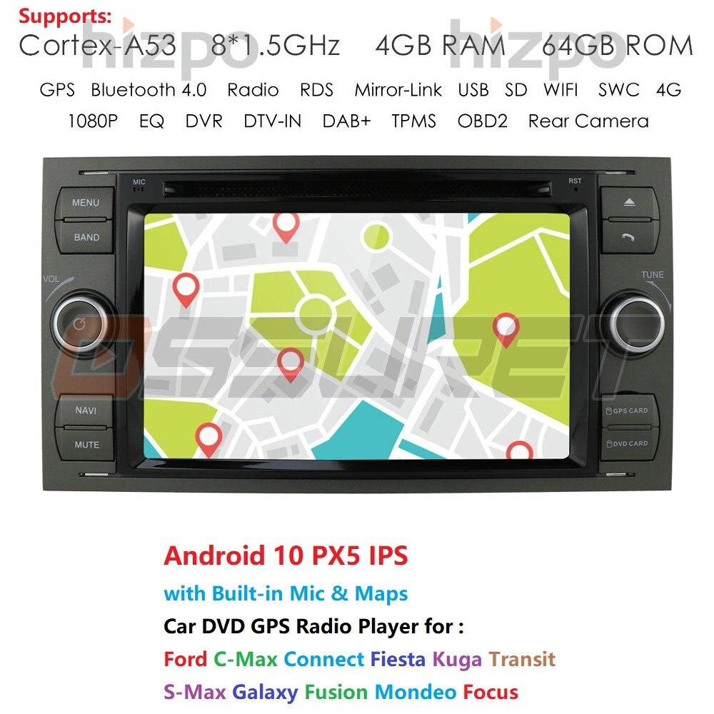 2 din Android 10 Auto DVD GPS Radio stereo Für Ford Mondeo S-max Fokus C-MAX Galaxy Fiesta Form fusion Multimedia PC DSP