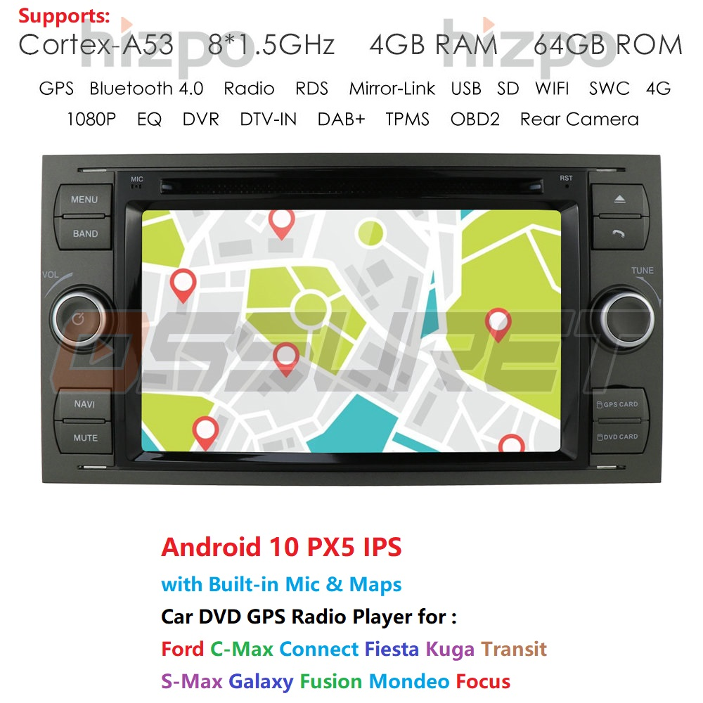 2 din Android 10 samochodowy odtwarzacz dvd radio stereo gps dla forda Mondeo s-max Focus C-MAX Galaxy Fiesta forma Fusion Multimedia PC DSP