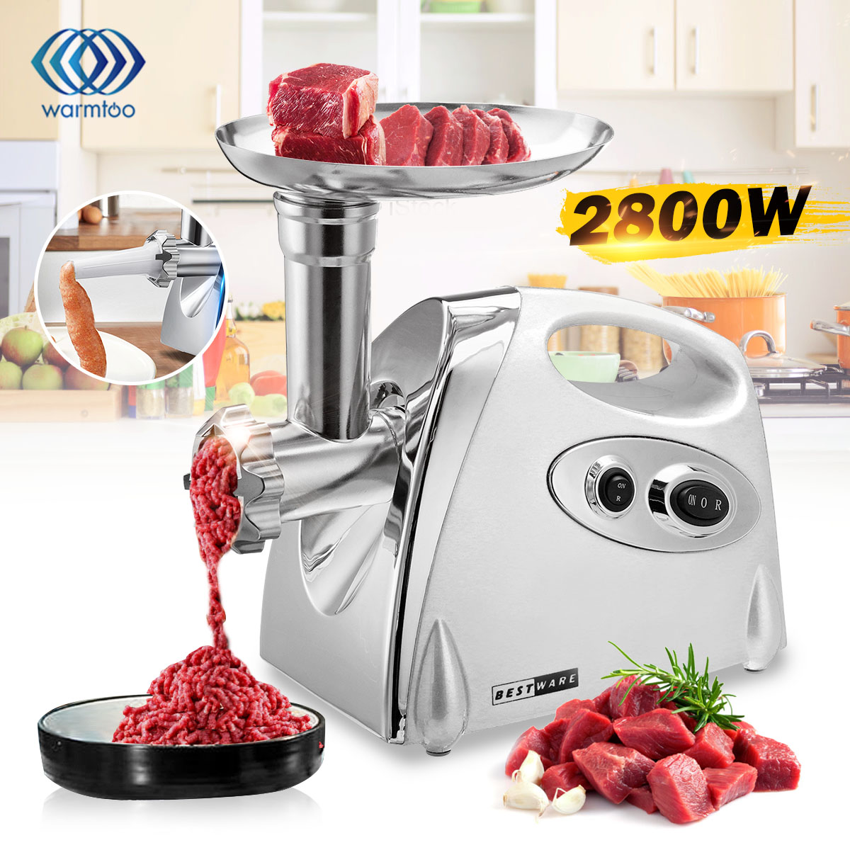 WARMTOO Electric Meat Grinder Stainless Steel Powerful Electric Grinder Sausage Stuffer Meat Mincer Slicer For Kitchen Appliance