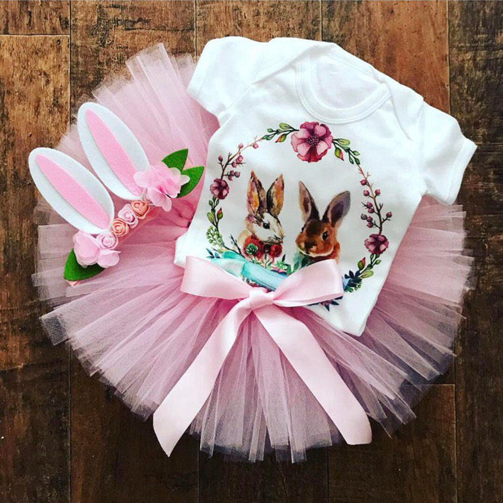 Jumpsuit Outfits Romper Tutu Skirts Easter-Day Rabbit-Print Infant Baby Cartoon NEW title=