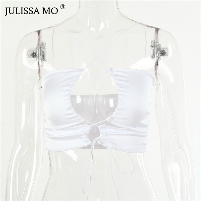 JULISSA MO Lace Up Sexy Satin Crop Top Women Short Bandage Hollow Out Tank Top White Solid Off Shoulder Backless Summer Tops Uncategorized Fashion & Designs Women's Fashion