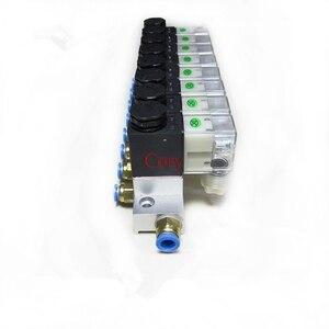 Image 4 - 1 pc 電磁弁バスバー 2 ウェイ空気圧アルミセット 2V025 06/08 ポート 1/8 1/4 bsp pushfit 継手 6 ミリメートル DC24V/12 v AC220V/110 v